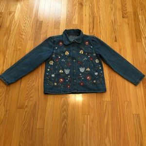 Jackets & Blazers - Floral Embroidered Jean Jacket